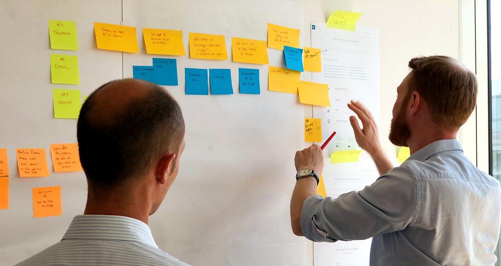 Dois homens em roupas profissionais olhando para uma parede com post-its coloridos categorizados.