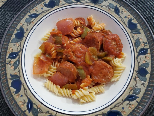 Italian Sweet Sausages with Green Peppers, Onions and Pasta