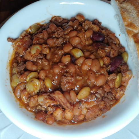Slow cooked Beans, Beef and Bacon (Audacious or Bodacious)