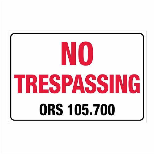 "12""x18"" No Trespassing Oregon Poly Metal Signs"