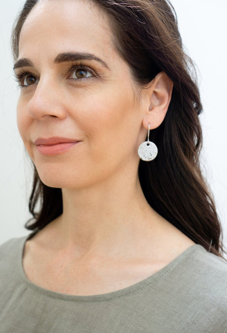 Speckled Round Stoneware Hanging Earring