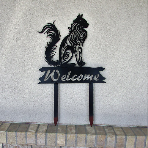 Welcome Sign - Realistic Cat