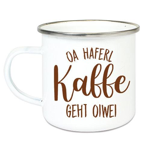 "Personalisierte Emailletasse ""Oa Kaffe geht oiwei"""