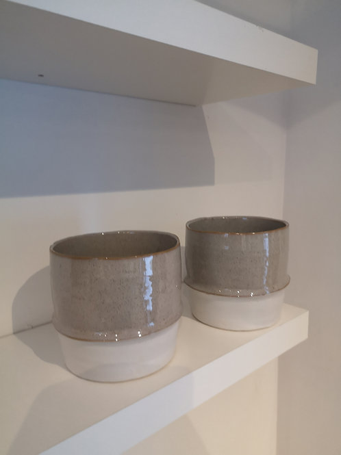 White & Beige Pot