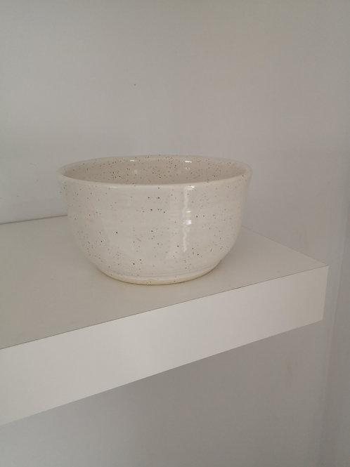 Handmade White Speckle Bowl- Earth & Ember