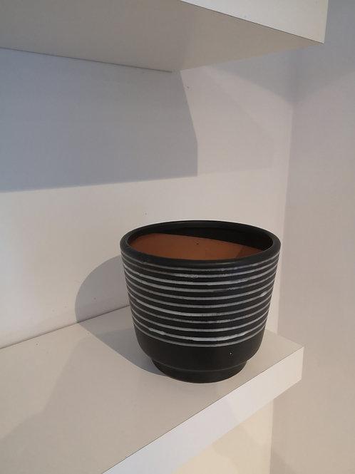 """Black Stripe Pot 7"""" by 6"""""""