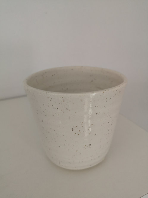 Petite Handmade White Speckle Pot-Earth & Ember