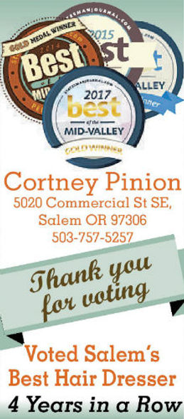 Cortney Pinion Best Hair Dresser Salem Oregon Best of the Mid Valley
