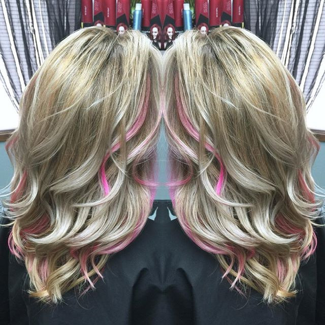 Balayage Beach Curl, Platinum Blonde with Pink