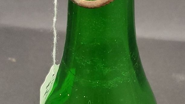 Antique Green Bottle with Bale Wire Topper