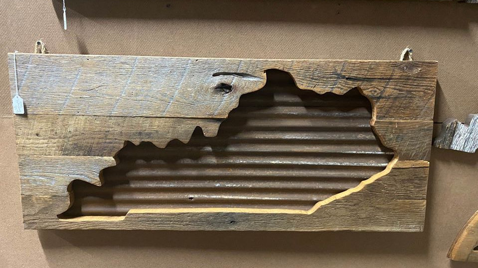 Unique Barnwood and Tin roof Kentucky Wall Hanging Artworkduct