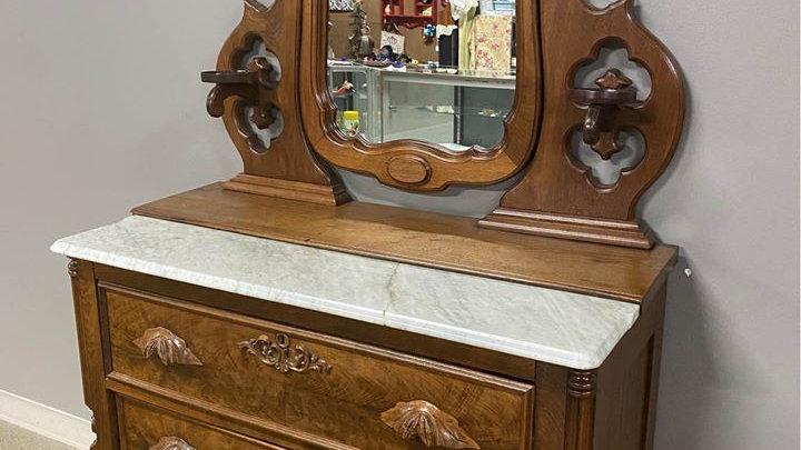 Beautiful Antique Walnut Wishbone Dresser, Half Marble Top, circa 1m a product