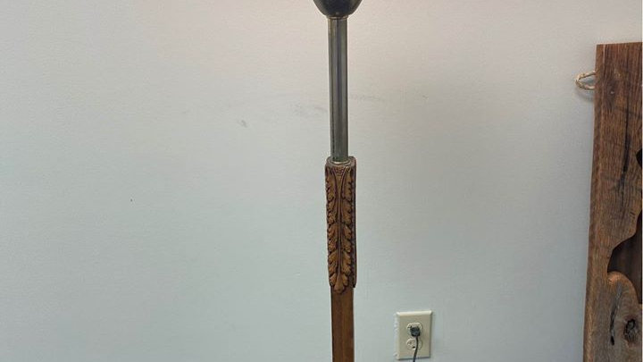 Vintage Wood Carved Lamp
