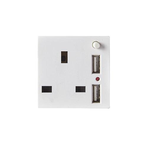 B3.6-13A Socket UK+USB Switch