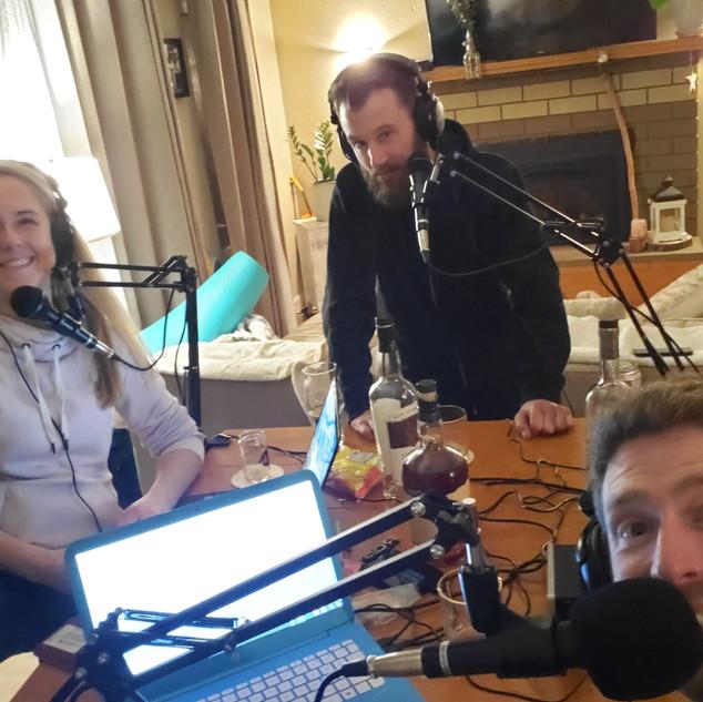The crew recording episode one!