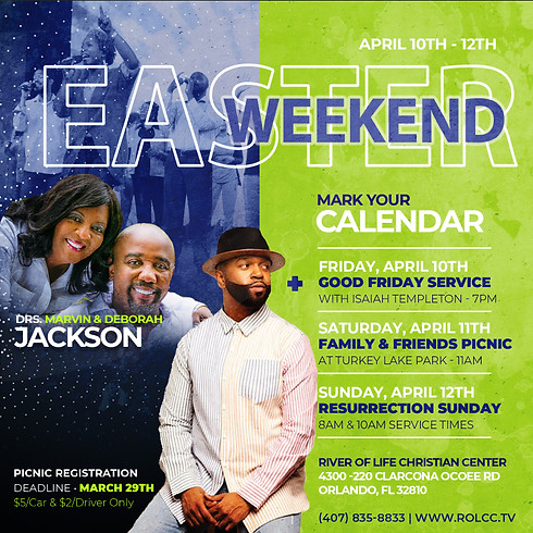 CANCELLED - Easter Weekend & Picnic Registration by March 29