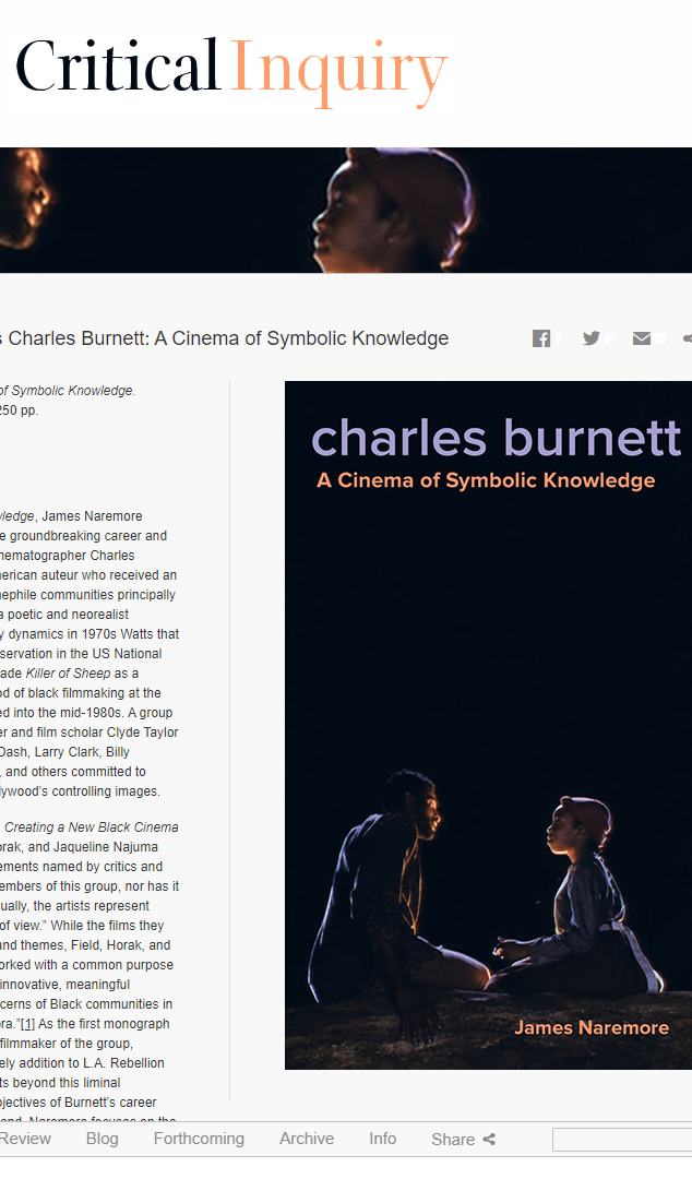 Review of Charles Burnett: A Cinema of Symbolic Knowledge