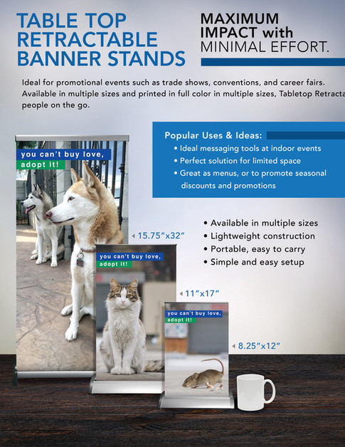 TABLE TOP RETRACTABLE BANNER STANDS