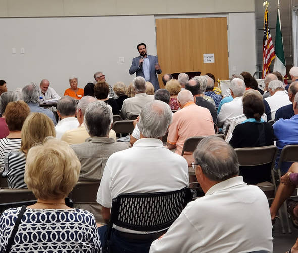 Jared speaking about local issues to the Italian American Society of Marco Island.