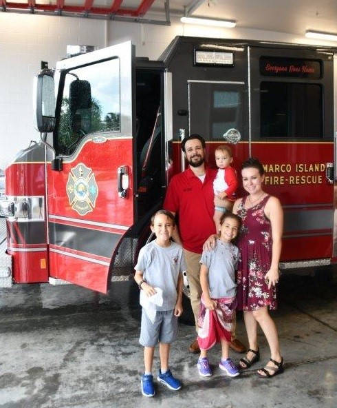 "Jared and his family at the ""Push-in Ceremony"" at Fire Station #51."