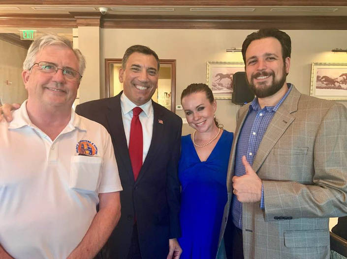 Jared and his wife Elsa with conservative District 1 Candidate and 24-year Air Force Veteran Rick LoCastro and local businessman David Hyatt.