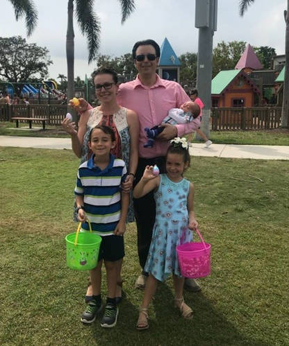 Jared and his family celebrating the annual Spring Jubilee Easter Egg hunt at Mackle Park.
