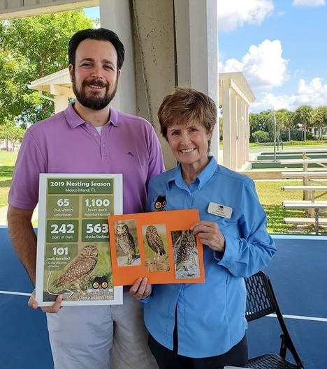 Jared celebrating the success of the 2019 Burrowing Owl nesting season with Owl Watch Volunteer Jean Hall.