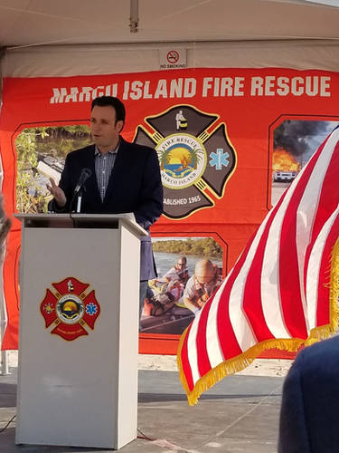 Speaking at the ground breaking ceremony for Marco Island Fire Station #51.