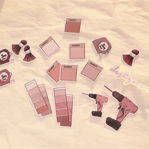 """""""Pink Swatches and Rose Drills"""" Sticker Set"""