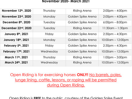 Winter Open Riding Schedule