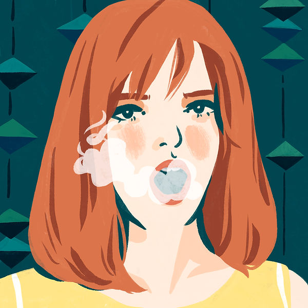 retro vintage sixties woman smoking bored look mod fashion redhead