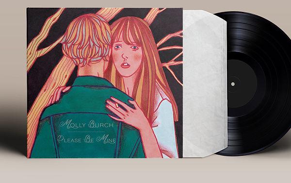 illustration vinyl music album cover artwork songwriter indie pop rock molly burch couple hug melancholic dark black background forest