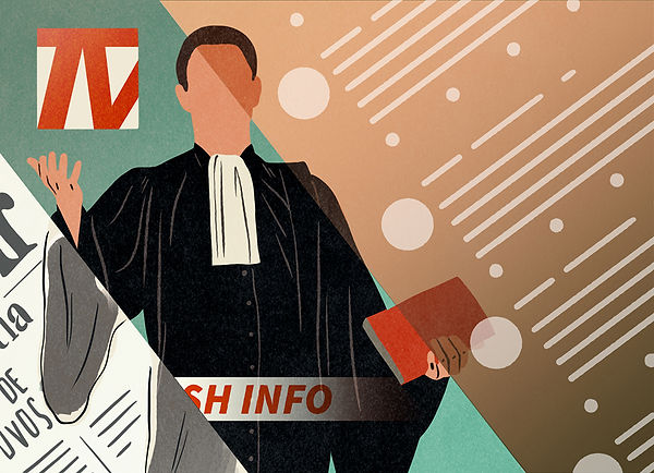 editorial illustration ina revue des médias avocat lawyer en robe plaide journal télévisé news illustratrice presse