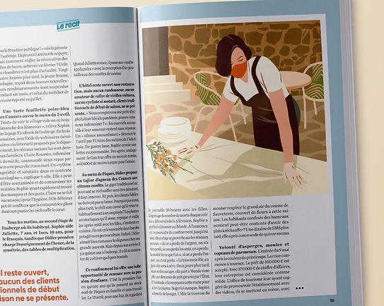illustration de presse pour le pèlerin aubergiste post confinement covid 19 saison touristique