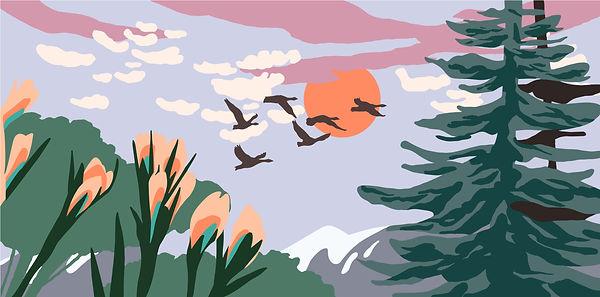 illustration landscape moutain flowers birds sun clouds pink purple