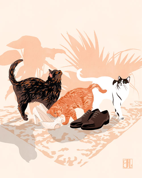 three cats pet illustration drawing art wedding gift commission couple home shoes