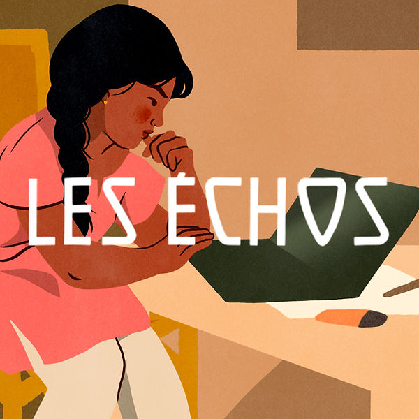 les échos bannière logo banner editorial presse little indian girl studying school homework computer education for girls internation women day art
