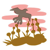 minimalist simple vector illustration shapes papercut nature landscape bird fields plants