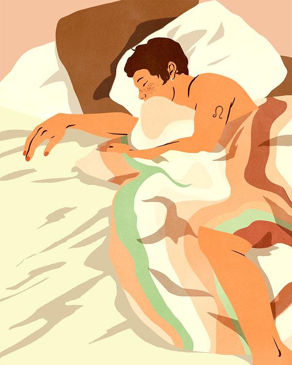 erotic illustration prints bodies bed patterns retro vintage colorful androgynous boy short hair sleep leo nailpolish naked