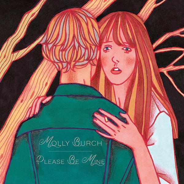 illustration music album cover artwork songwriter indie pop rock molly burch please be mine dark black background forest