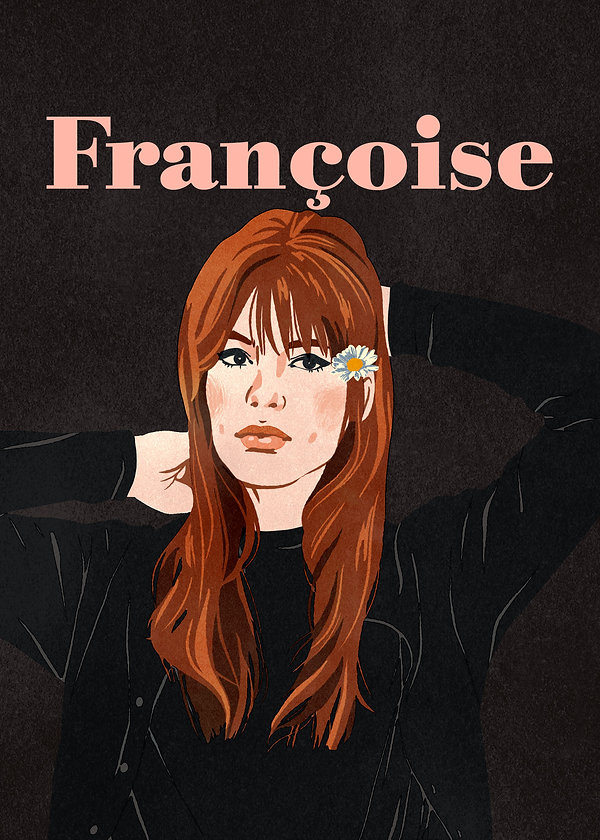 illustration portrait of french singer francoise hardy sixties icon black background mod fashion woman pretty face music