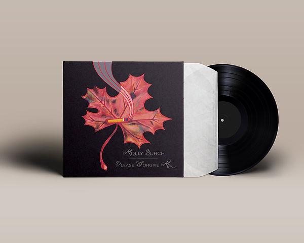 illustration music vinyl album cover artwork songwriter indie pop rock molly burch cigarette dark black background forest