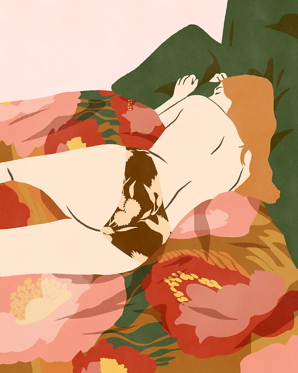 erotic illustration prints bodies bed patterns retro vintage colorful woman blonde redheadvenitian sleeping body naked back panty flower pattern gold sensual