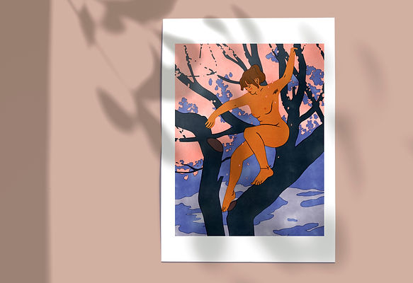 illustration artwork print decorative naked woman climbing cherry tree blossom spring summer art