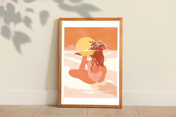 illustration artwork framed print landscape beach sunset summer vintage colors orange pink woman bathing suit seagull