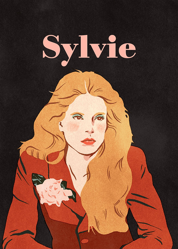 illustration portrait of french singer sylvie vartan poutty sixties icon powersuit pink flower red black woman pretty face