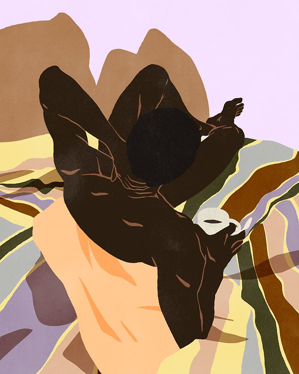 erotic illustration prints bodies bed patterns retro vintage colorful black man naked coffee morning waking up body sensual