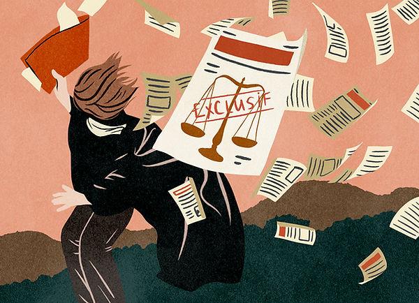 editorial illustration justice medias ina revue des médias illustratrice presse avocat justice