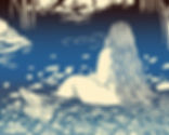 illustration woman curvy linocut nude girl water nature bathing lake pond