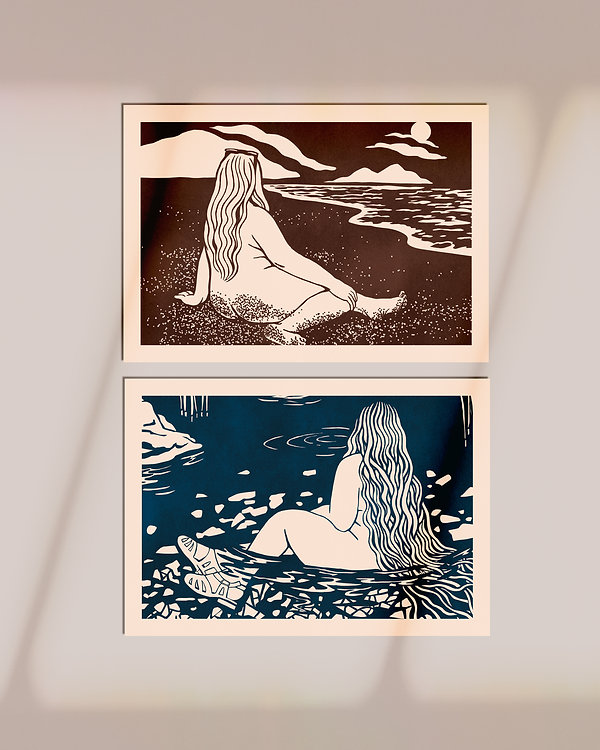 illustration woodblock print naked woman water beach landscape nature body positive curvy long air